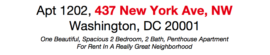 Apt 1202, 437 New York Ave, NW  Washington, DC 20001